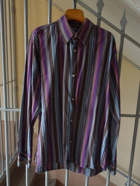画像1: Peter Cofox Men's collection ストライプシャツ 長袖 Lサイズ (1)