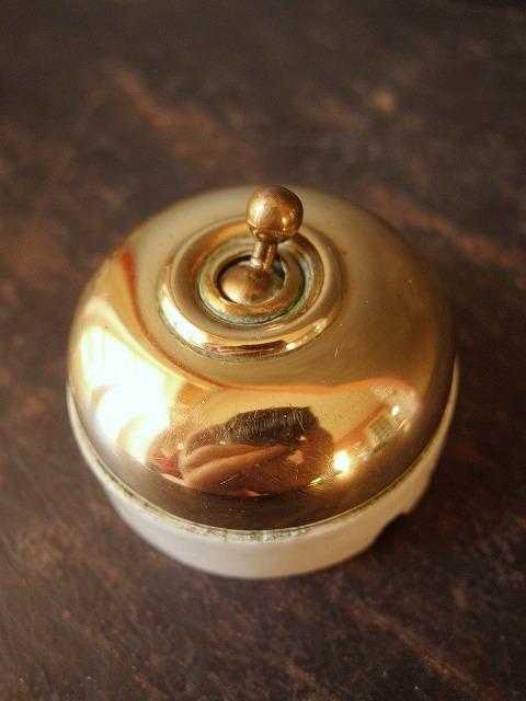 フランスヴィンテージ陶器と真鍮カバーのスイッチ