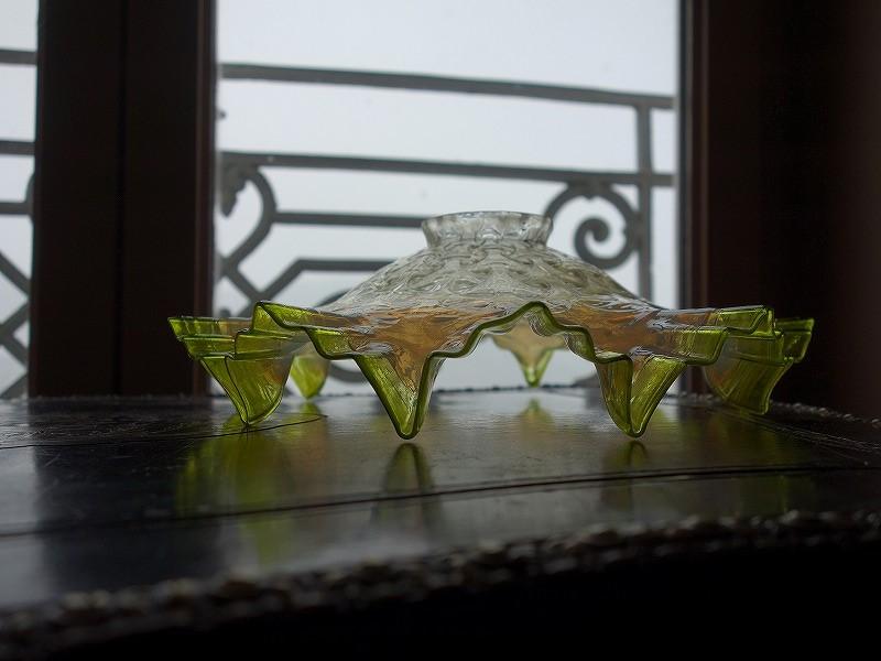 フランスヴィンテージフリルランプシェード緑色オパールセント