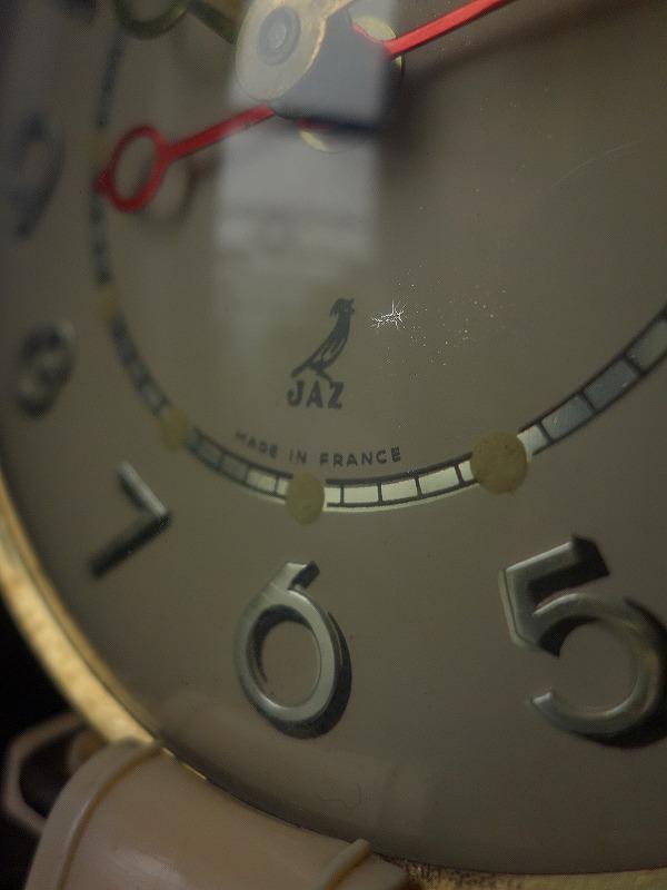 フランスヴィンテージジャズの目覚まし時計しっぽ下向き